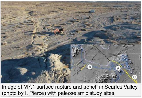 Ridgecrest surface rupture and trench with inset map of study sites