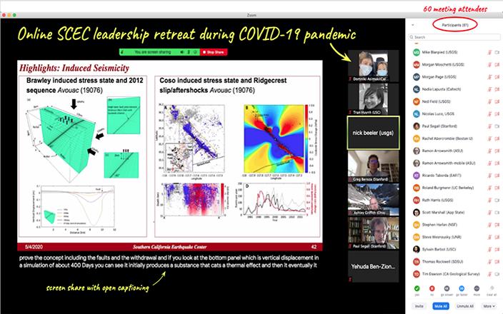 Screenshot from SCEC 2020 Leadership Retreat held via Zoom meeting.