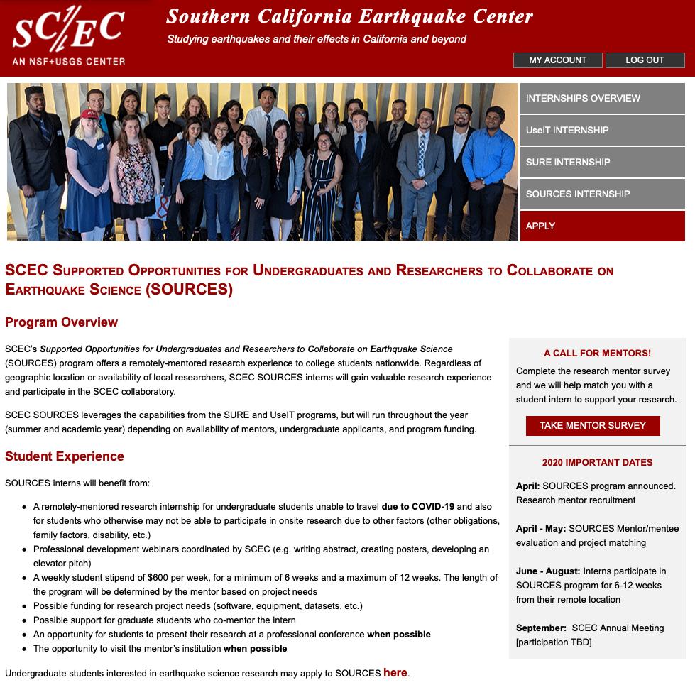 Screenshot of SCEC SOURCES webpage