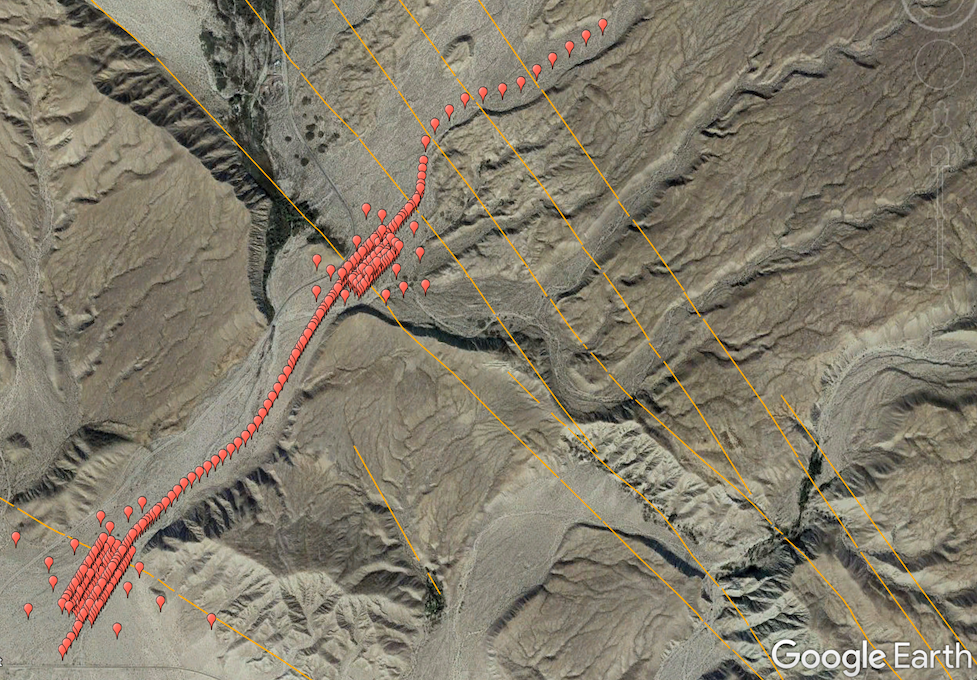 Map of a section of the northern Coachella Valley, showing strands of the San Andreas Fault and locations of deployed sensors.